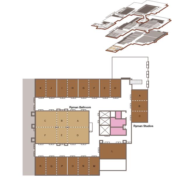 Map of the Ryman Ballroom/Studios